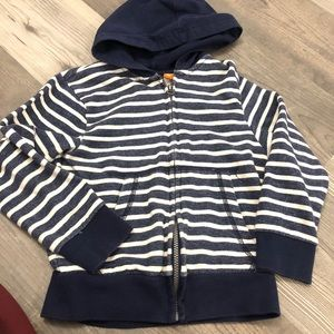 Children's Place Navy & White Hooded Zip Up Jacket